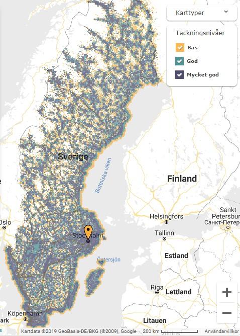 Täckningskarta för Telenor data
